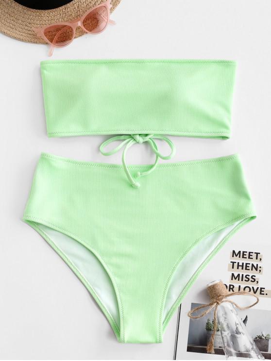 women's ZAFUL Textured Lace-up Bandeau Bikini Set - MINT GREEN S