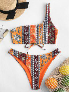 ZAFUL Bohemian Reversible One Shoulder Bikini Set - Pumpkin Orange S