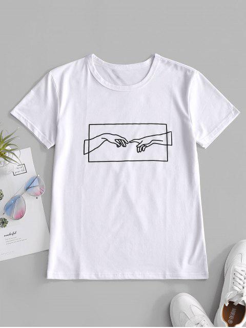 Camiseta Manga Larga Estampado Mano - Blanco XL Mobile