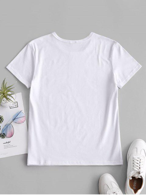 women Hand Graphic Jersey Tee - WHITE S Mobile