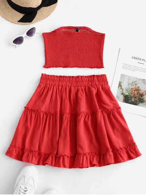 fancy ZAFUL Smocked Bandeau Top and Skirt Set - RED L Mobile