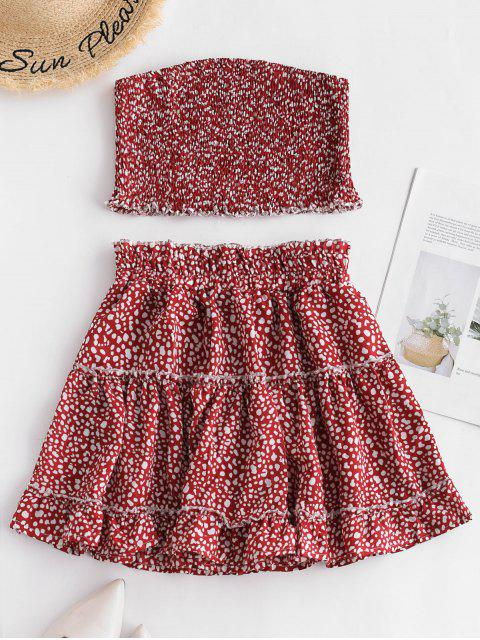 women's ZAFUL Printed Smocked Bandeau Top And Skirt Set - CHERRY RED S Mobile