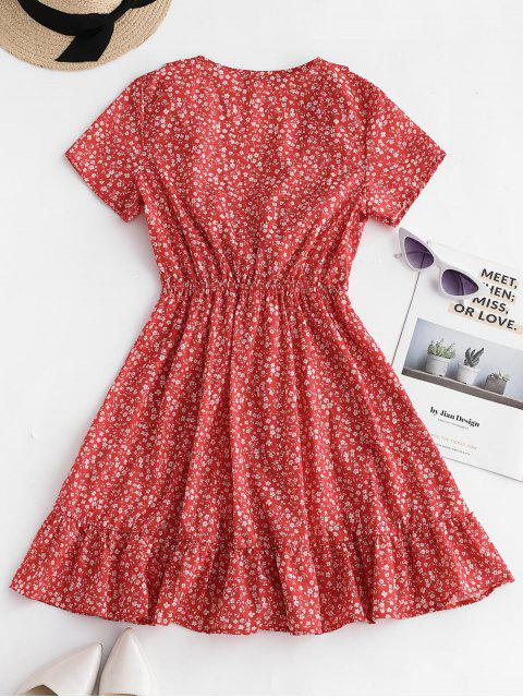 unique ZAFUL Ruffles Tie Front Floral Dress - CHESTNUT RED S Mobile