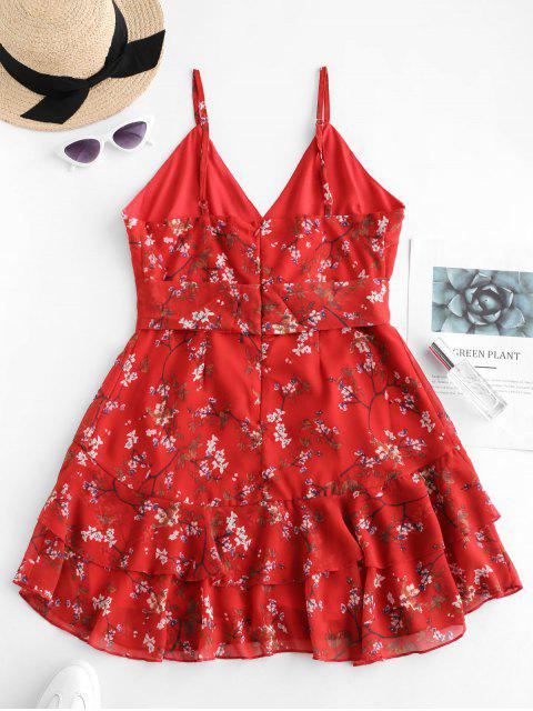 chic Ruffles Floral Surplice Cami Dress - RED S Mobile