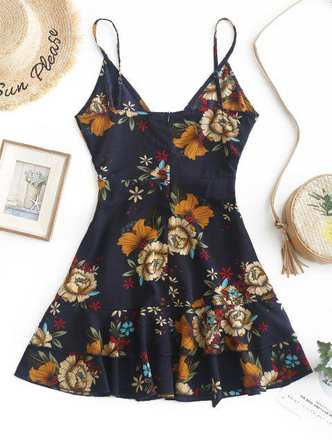 hot ZAFUL Ruffles Knotted Floral Cami Dress - MIDNIGHT BLUE S Mobile