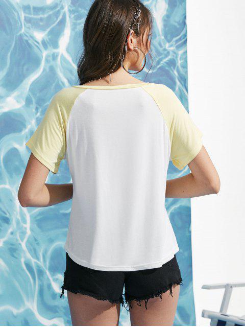 T-shirt de Base-ball Cocotier Imprimé - Blanc S Mobile