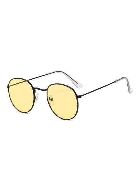 trendy Vintage Round Anti UV Sunglasses - SUN YELLOW  Mobile