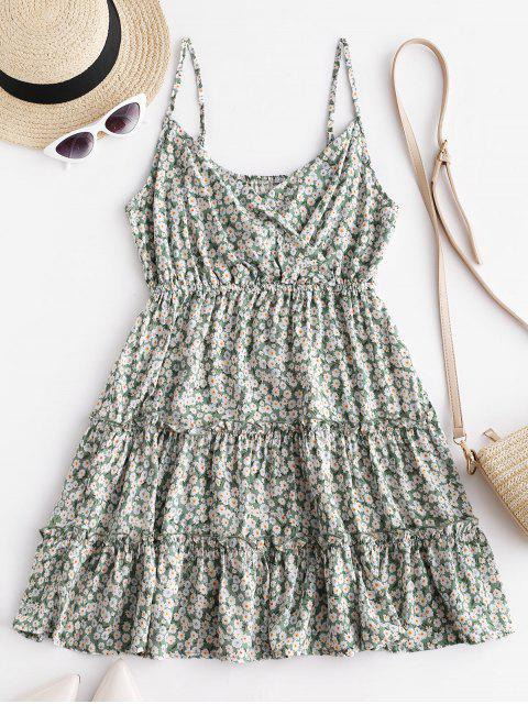 chic Floral Print Surplice Cami Dress - GREEN S Mobile