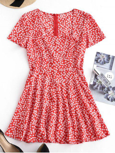 ladies Square Collar Tiny Floral Dress - RED S Mobile