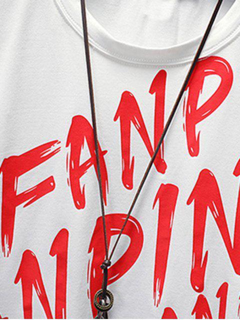Fanpin carta camiseta estampada gráfica informal - Blanco S Mobile