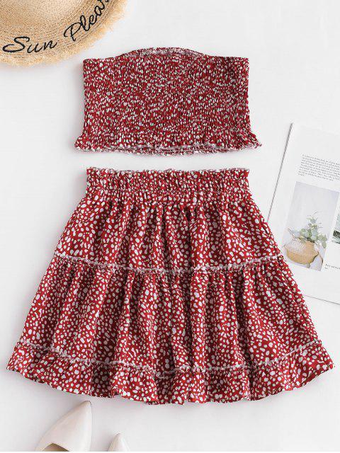 Conjunto de falda y falda bandeau estampado estampado ZAFUL - Rojo Cereza S Mobile