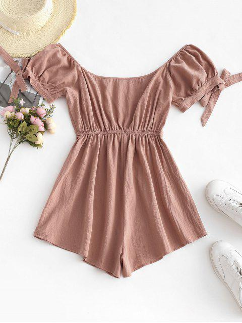 buy ZAFUL Button Embellished Tie Cuffs Romper - ROSE S Mobile
