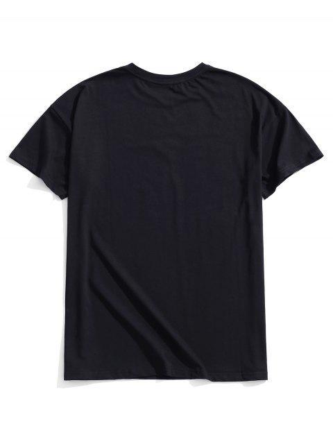 手花刺繡T卹 - 黑色 L Mobile