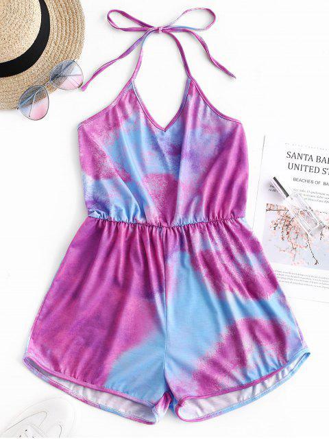 ladies Backless Tie Dye Halter Romper - MULTI-B M Mobile