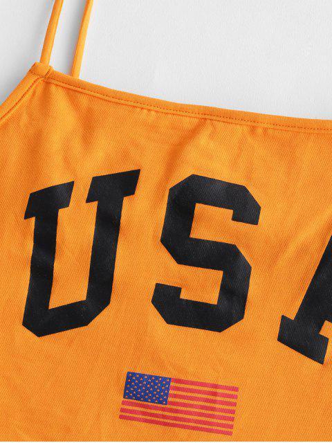 TopCarta Impresso Bandeira Americana Cami - Laranja M Mobile