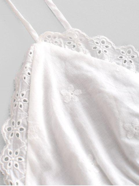 lady ZAFUL Scalloped Skirted Eyelet Cami Top - WHITE S Mobile