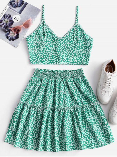 outfit Floral Print Buttoned A Line Skirt Set - GREEN M Mobile