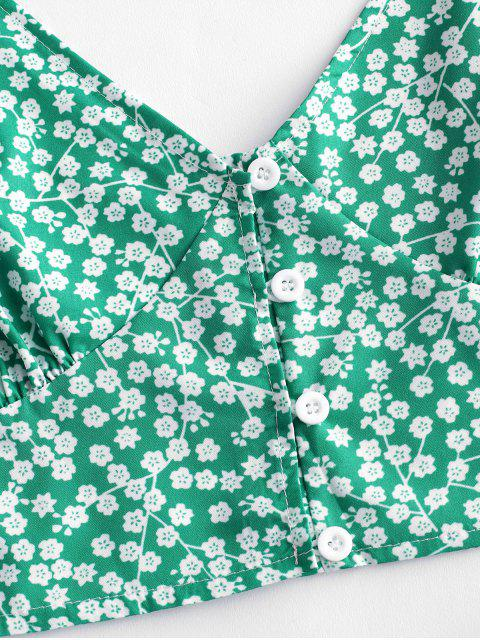 ladies Floral Print Buttoned A Line Skirt Set - GREEN L Mobile