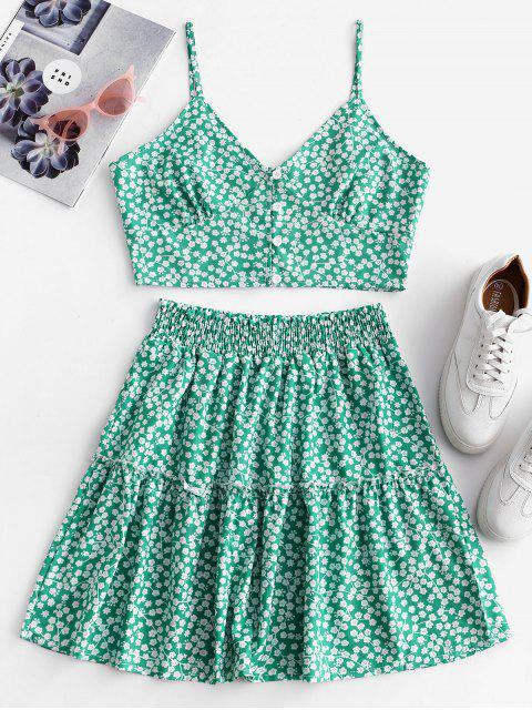 women's Floral Print Buttoned A Line Skirt Set - GREEN XL Mobile
