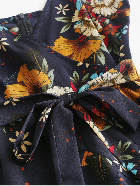 Vestido cami floral anudado con volantes de ZAFUL - Azul de Medianoche S Mobile