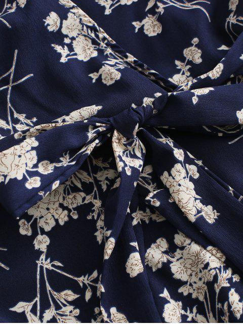 Robe Ceinturée Superposée Fleurie Imprimée à Volants - Multi-A S Mobile
