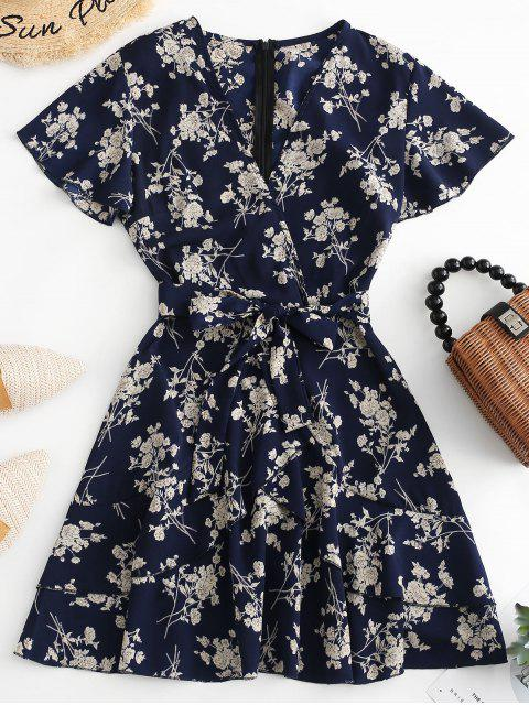 latest Floral Print Ruffles Belted Surplice Dress - MULTI-A M Mobile