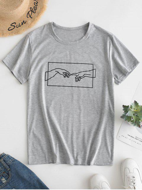 women's Hand Graphic Jersey Tee - GRAY GOOSE M Mobile