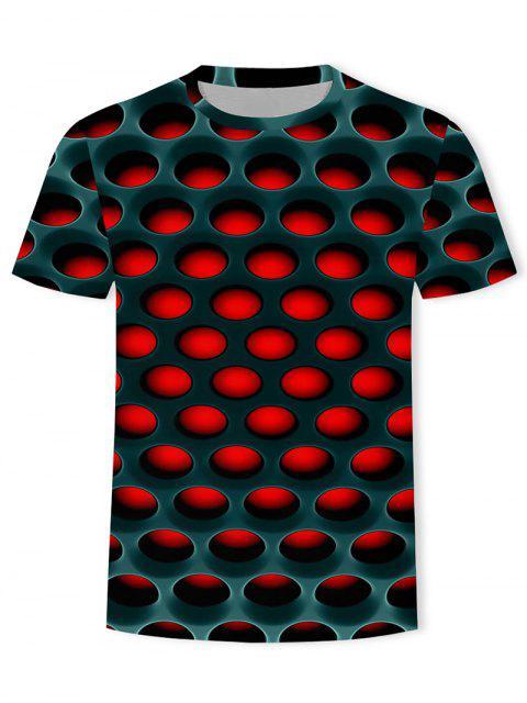 T-Shirt Casuale Asimmetrica in Tinta Unita con Grafica di Cartone - Rosso XL Mobile