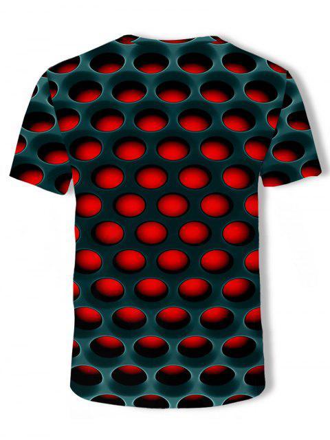 T-Shirt Casuale Asimmetrica in Tinta Unita con Grafica di Cartone - Rosso 3XL Mobile