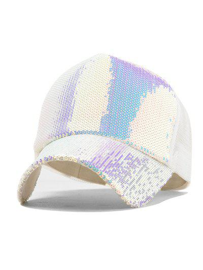 86d028403d6b0 Holographic Sequined Baseball Cap - White ...