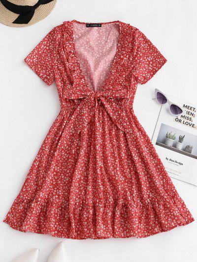184aea7937a ZAFUL Ruffles Tie Front Floral Dress - Chestnut Red M ...