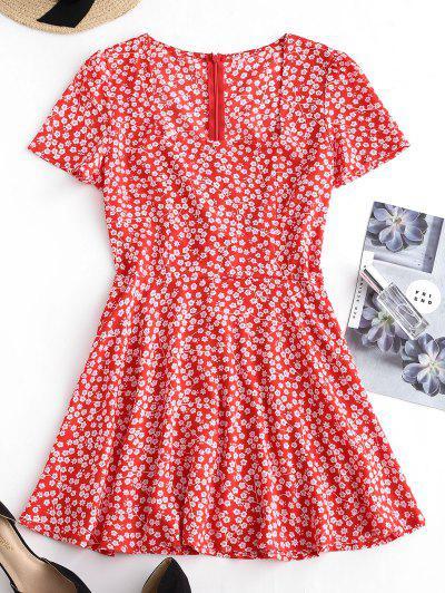 d6305d64e06 Square Collar Tiny Floral Dress - Red M ...
