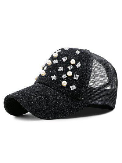 2be9b1eee7c74 Faux Pearl And Rhinestone Baseball Cap - Black