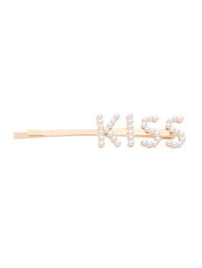 Letter Faux Pearl Sweet Hair Clip - Multi-c