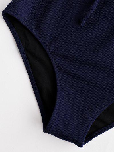 ZAFUL Textured Tie Tank Bikini Set, Midnight blue