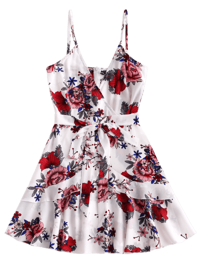 ZAFUL Ruffles Knotted Floral Cami Dress, White