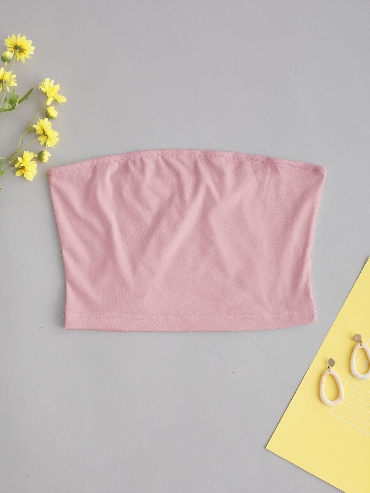 ZAFUL Solid Plain Bandeau Top, Pig pink