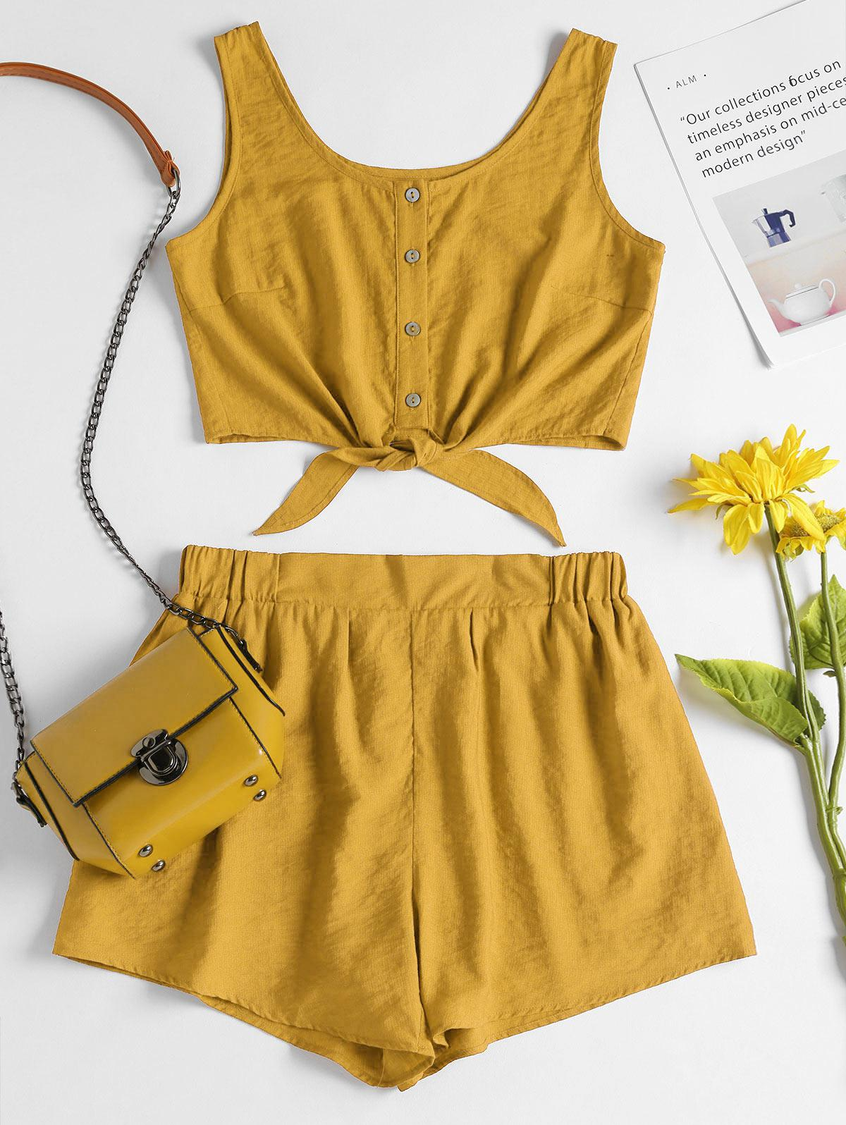 Sleeveless Button Up Crop Top and Shorts Set, Bee yellow