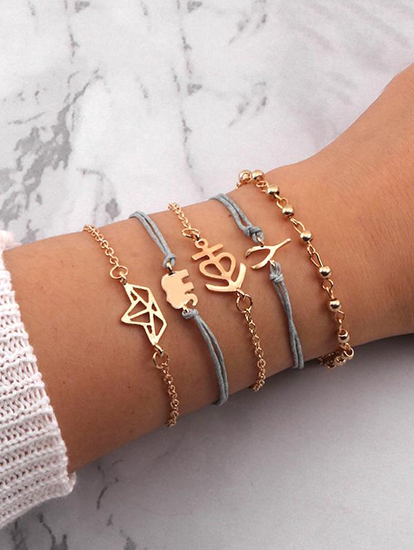 5Pcs Elephant Boat Bracelet Set
