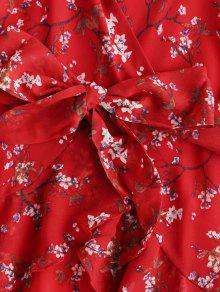 8ceb1d2f4b2 27% OFF   HOT  2019 Ruffles Floral Surplice Cami Dress In RED
