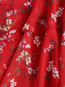 7b8549625d2 ... Ruffles Floral Surplice Cami Dress. chic Ruffles Floral Surplice Cami  Dress - RED S