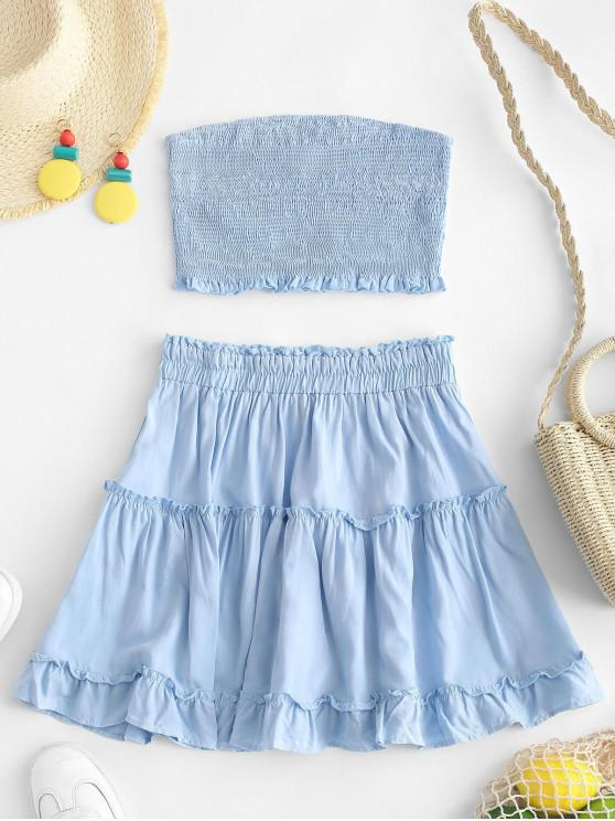 ladies ZAFUL Smocked Bandeau Top and Skirt Set - LIGHT BLUE S