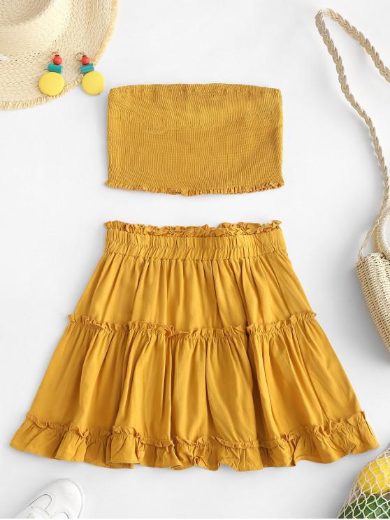trendy ZAFUL Smocked Bandeau Top and Skirt Set - ORANGE GOLD M