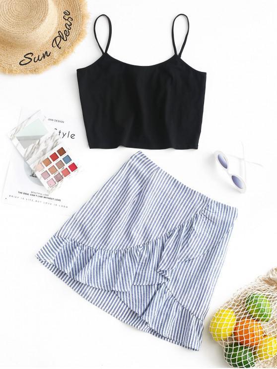 women ZAFUL Crop Cami Top and Striped Skirt Set - MULTI L