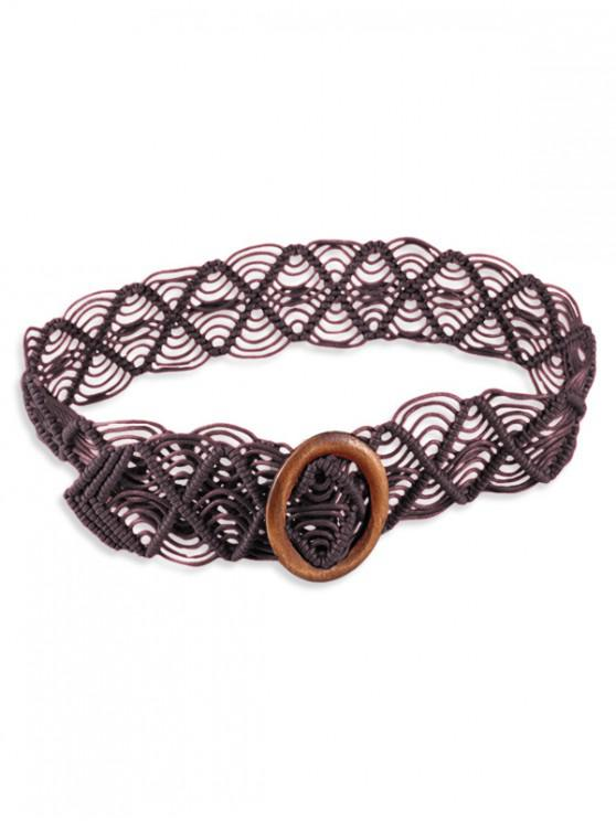 womens Wooden Ring Bohemian Rope Wide Belt - COFFEE