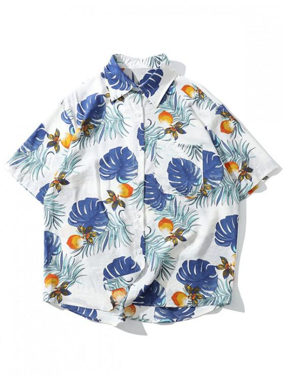 fashion Tropical Plant Print Hawaii Beach Shirt - WHITE XL