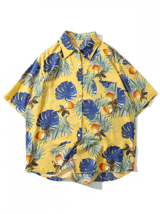 unique Tropical Plant Print Hawaii Beach Shirt - BEE YELLOW L