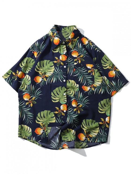 women Tropical Plant Print Hawaii Beach Shirt - BLUE XL