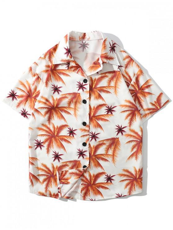 women Plant Print Casual Beach Shorts - PUMPKIN ORANGE L
