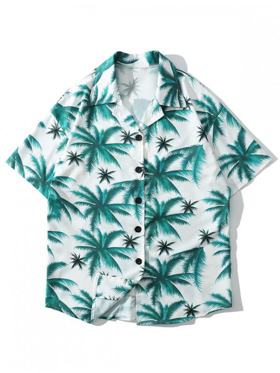new Plant Print Casual Beach Shorts - DARK TURQUOISE 2XL